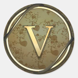 v round sticker