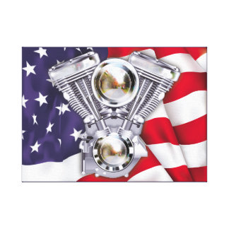 V-Twin Engine and American Flag Stretched Canvas Prints
