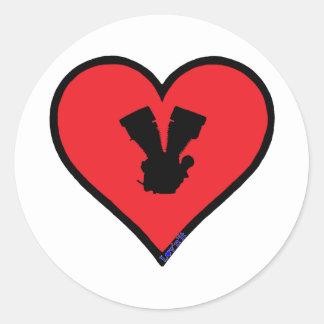 V twin round sticker