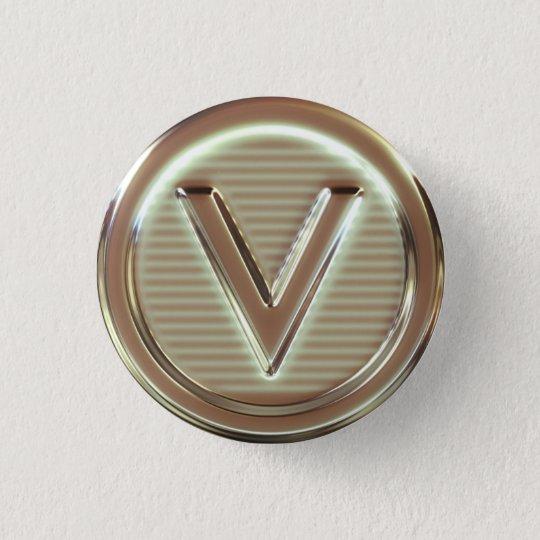 V - Vegan letters 1/5 3 Cm Round Badge