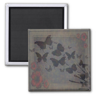 Vacant Butterfly Large Square Magnet