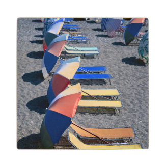 Vacant Chairs On Beach Wood Coaster