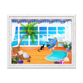 VACATION CANVAS PRINT, CUTE CAT AT SPA, PALM TREES