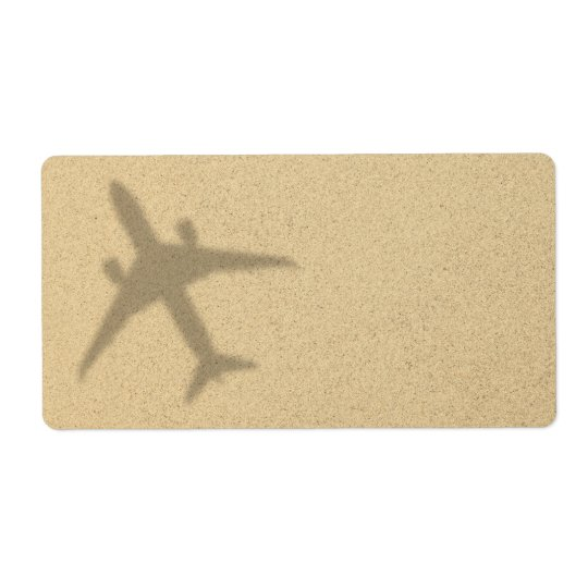 Vacation Concept. Sandy Beach With Shadow Plane Shipping Label