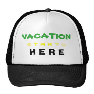 vacation hat green yellow black