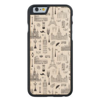 Vacation In Europe Pattern Carved Maple iPhone 6 Case