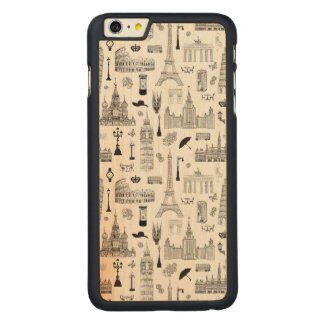 Vacation In Europe Pattern Carved® Maple iPhone 6 Plus Case