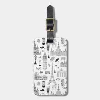 Vacation In Europe Pattern Luggage Tag