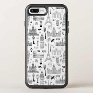 Vacation In Europe Pattern OtterBox Symmetry iPhone 8 Plus/7 Plus Case