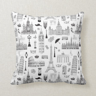 Vacation In Europe Pattern Throw Pillow