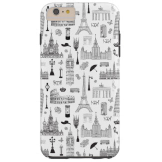 Vacation In Europe Pattern Tough iPhone 6 Plus Case