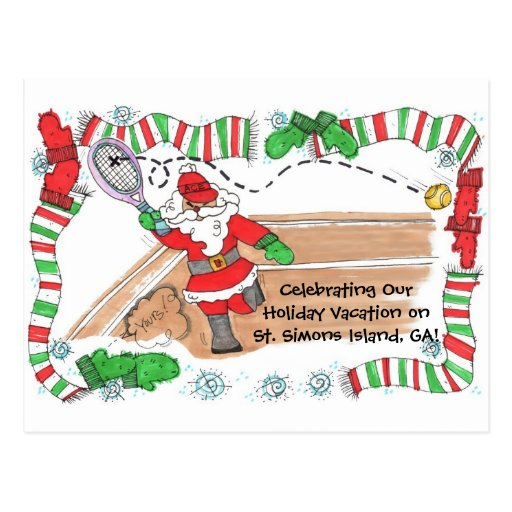 Vacation Post Card -Santa On Court