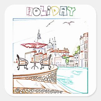 vacation square sticker