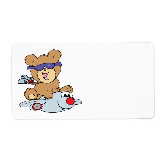 vacation teddy bear in plane shipping label