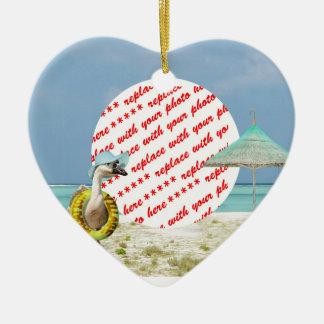 Vacation Time Goose Beach Scene Photo Frame Ceramic Heart Decoration