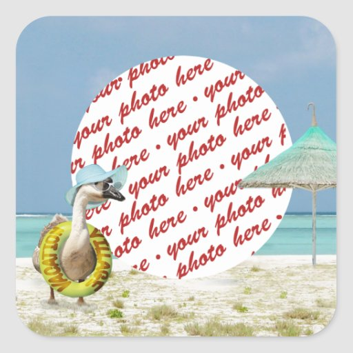 Vacation Time Goose Beach Scene Photo Frame Sticker