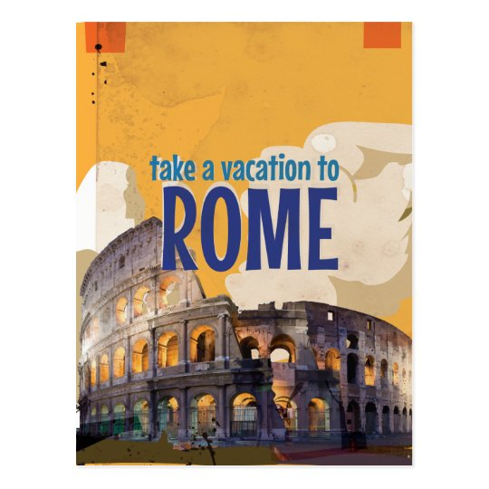Vacation To Rome Vintage Art Postcard