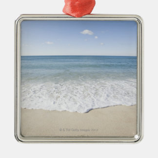 'Vacation' written on sandy beach, Nantucket Silver-Colored Square Decoration