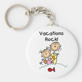 Vacations Rock T-shirts and gifts Basic Round Button Key Ring