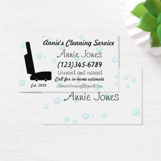 Vacuum Bubbles Cleaning Maid Service Business Card