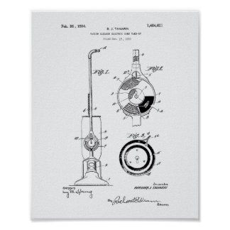 Vacuum Cleaner 1924 Patent Art White Paper Poster