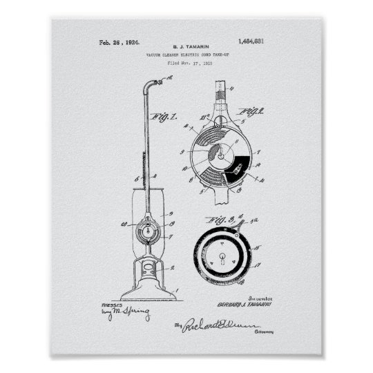 Vacuum Cleaner 1924 Patent Art White Paper Poster