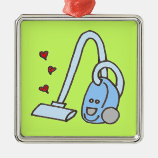 Vacuum Cleaner with Hearts Silver-Colored Square Decoration