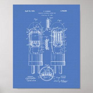 Vacuum Tube 1929 Patent Art Blueprint Poster