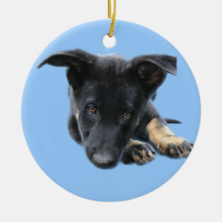 Vader, Black German Shepherd puppy Christmas Ornament