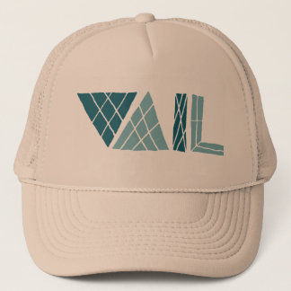 vail colorado crosshatch font trucker hat
