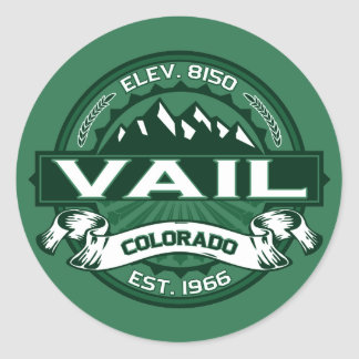 "Vail ""Colorado Green"" Logo Classic Round Sticker"