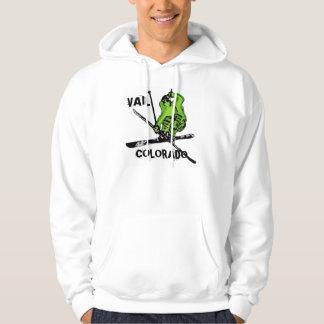 Vail Colorado neon green skier guys hoodie
