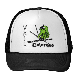 Vail Colorado neon green skier hat
