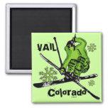 Vail Colorado neon green skier theme magnet
