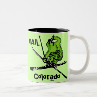 Vail Colorado neon green skier theme mug