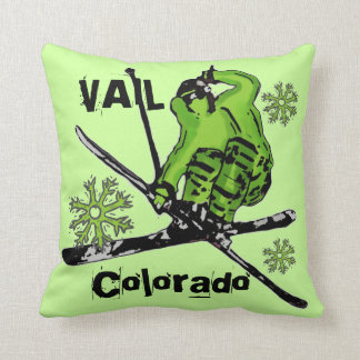 Vail Colorado neon green theme skier pillow