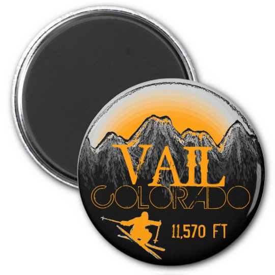 Vail Colorado orange ski mountain magnet