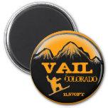 Vail Colorado orange snowboard art magnet