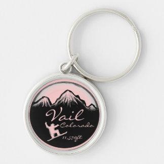 Vail Colorado pink snowboard art keychain