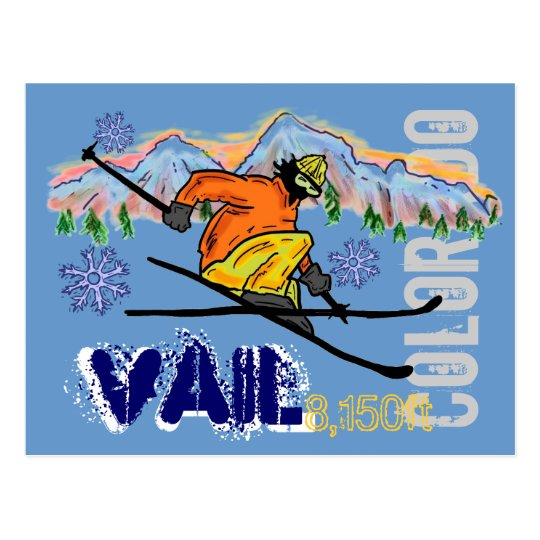 Vail Colorado ski elevation postcard