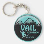 Vail Colorado teal snowboard art keychain
