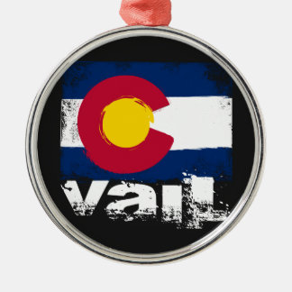 Vail Grunge Flag Silver-Colored Round Decoration