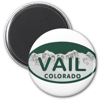 Vail license oval 6 cm round magnet