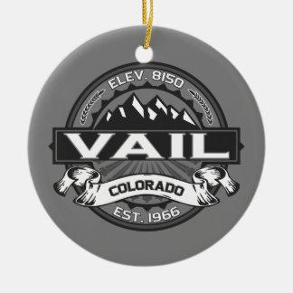 Vail Logo Grey Round Ceramic Decoration