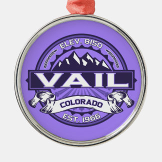 Vail Logo Violet Silver-Colored Round Decoration