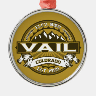 Vail Logo Wheat Silver-Colored Round Decoration