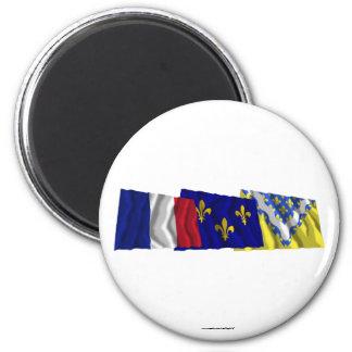 Val-de-Marne, Île-de-France & France flags Magnets