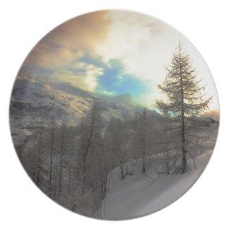 Val D'Isere Alpine Sunrise Plate