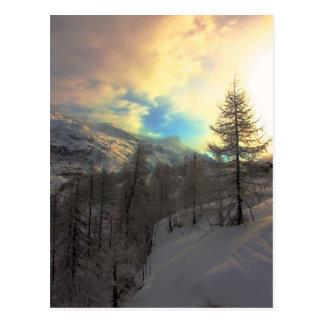 Val D'Isere Alpine Sunrise Postcard