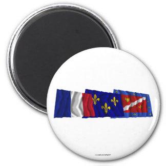 Val-d'Oise, Île-de-France & France flags 6 Cm Round Magnet